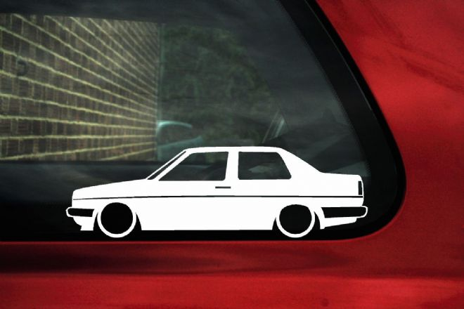2x Low car outline stickers - for Volkswagen Jetta Mk2 coupe classic VW